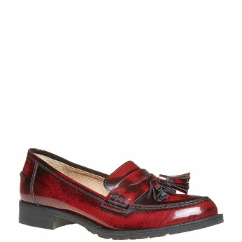 Loafers en cuir avec houppes bata, Rouge, 514-5246 - 13