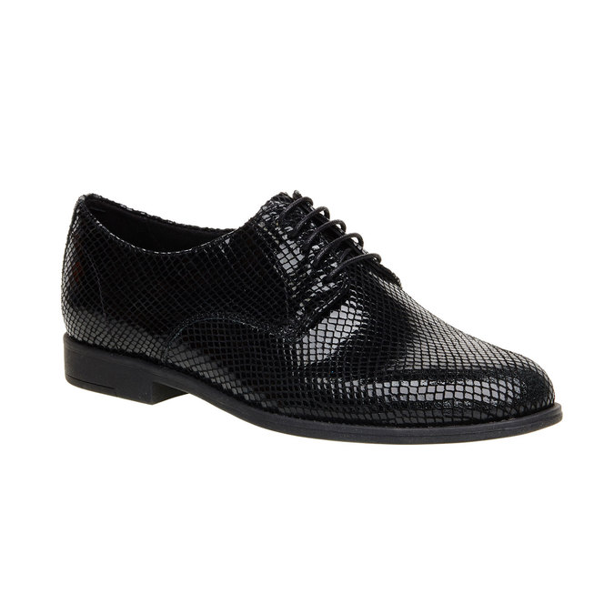 Chaussure lacée en cuir avec motif peau de serpent vagabond, Noir, 526-6008 - 13
