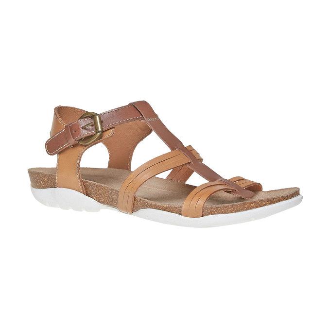Sandale en cuir femme weinbrenner, Brun, 564-3315 - 13