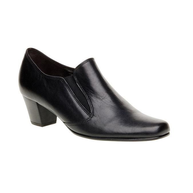 Chaussure basse en cuir pour femme à talon gabor, Noir, 614-6004 - 13