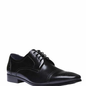 Chaussure lacée Derby en cuir avec décoration bata, Noir, 824-6274 - 13