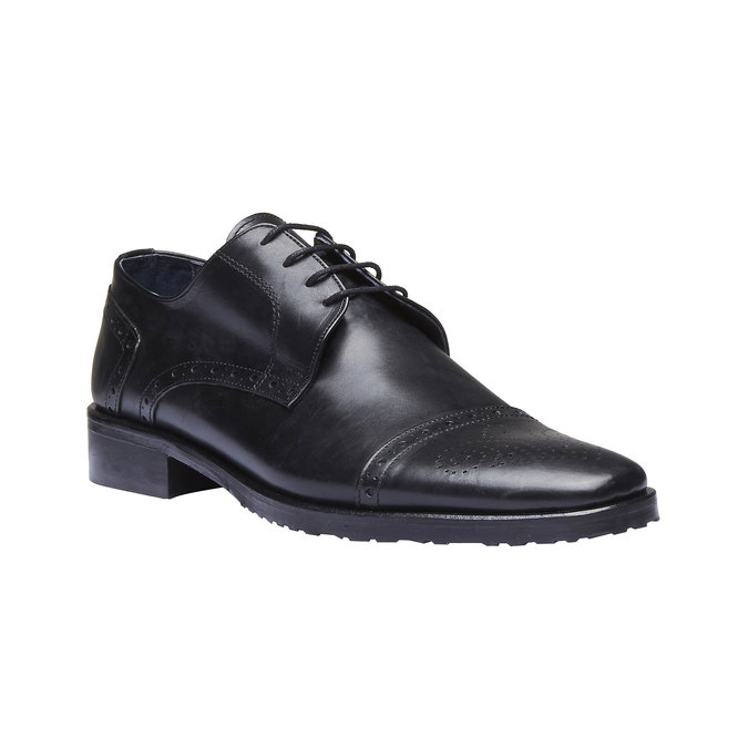 Chaussure lacée Derby en cuir bata, Noir, 824-6809 - 13