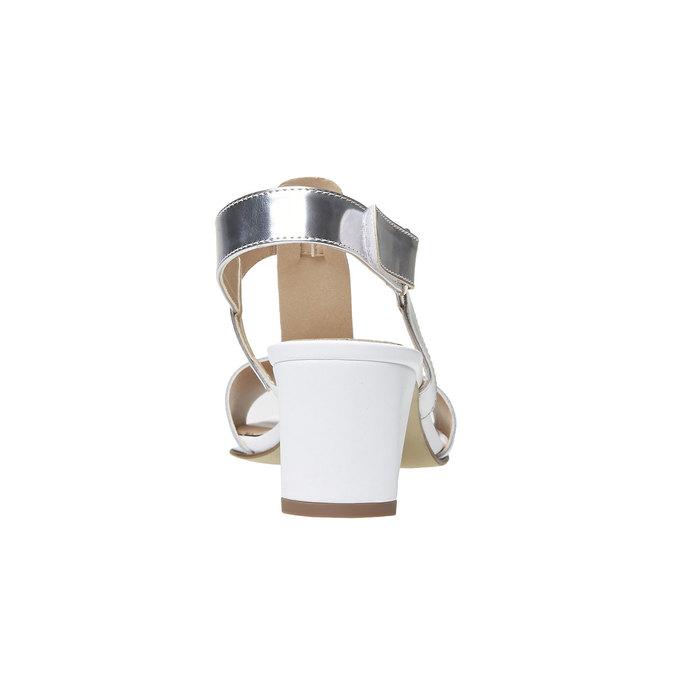 Sandale blanche pour femme à talon large bata, Blanc, 764-1551 - 17