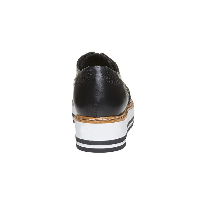 Chaussures en cuir à flatform bata, Noir, 524-6255 - 17