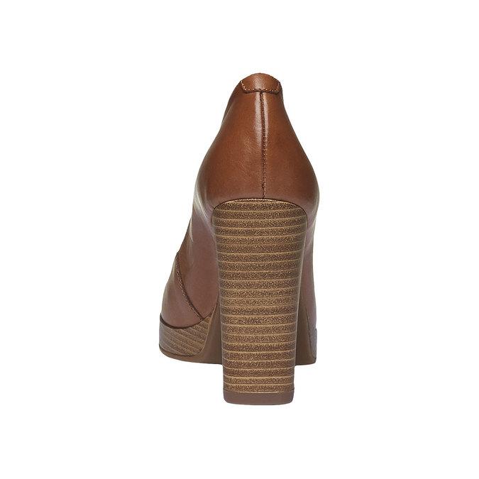 Escarpin en cuir à talon massif bata, Brun, 724-3943 - 17