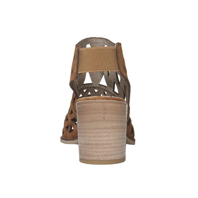 Sandale en cuir à talon large bata, Jaune, 763-8532 - 17