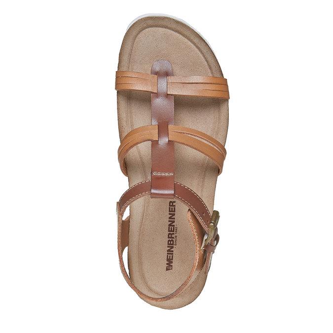 Sandale en cuir femme weinbrenner, Brun, 564-3315 - 19
