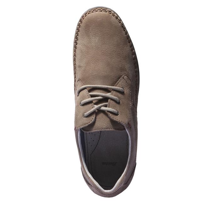 Chaussures de sport lacées en cuir bata, Brun, 856-4259 - 19