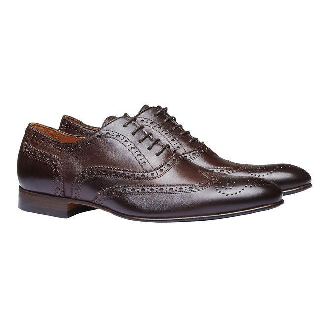 Chaussure lacée en cuir pour homme avec décoration shoemaker, Brun, 824-4145 - 26