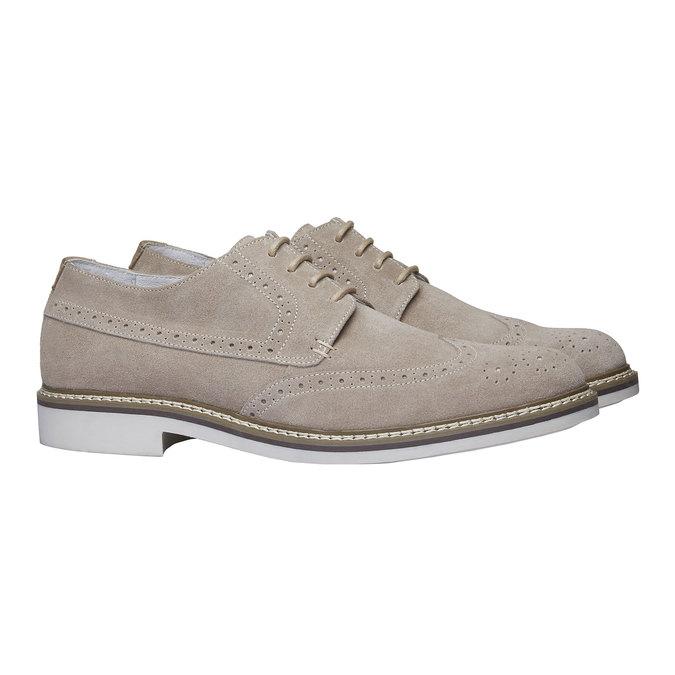Chaussure lacée en cuir avec décoration Brogue bata, Jaune, 823-8603 - 26