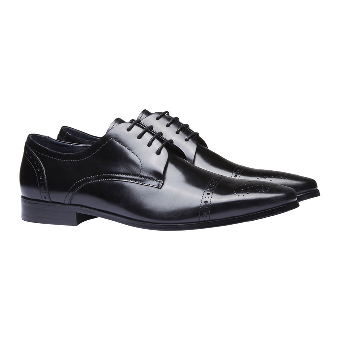 Chaussure lacée Derby en cuir avec décoration bata, Noir, 824-6274 - 26