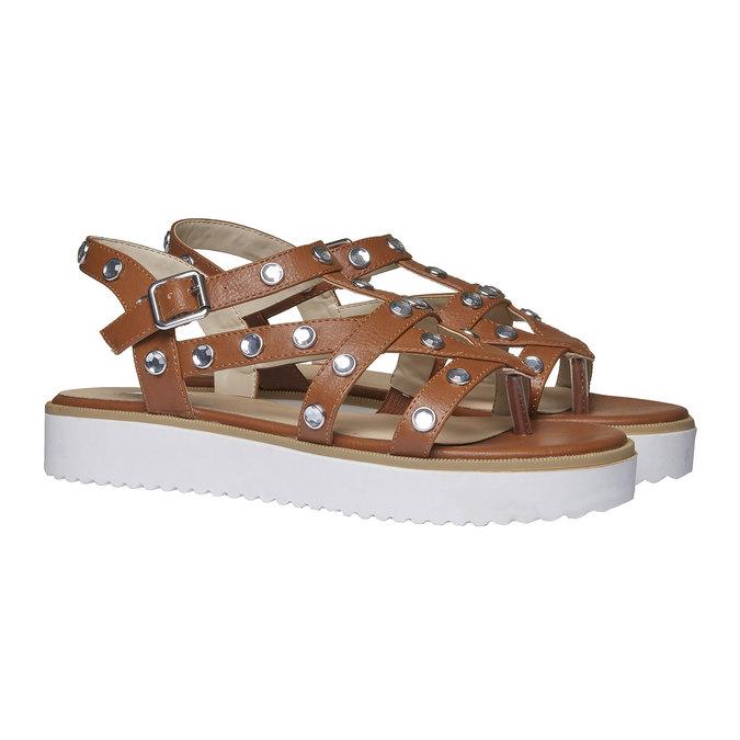 Sandale à lanières femme à semelle épaisse bata, Brun, 561-3225 - 26