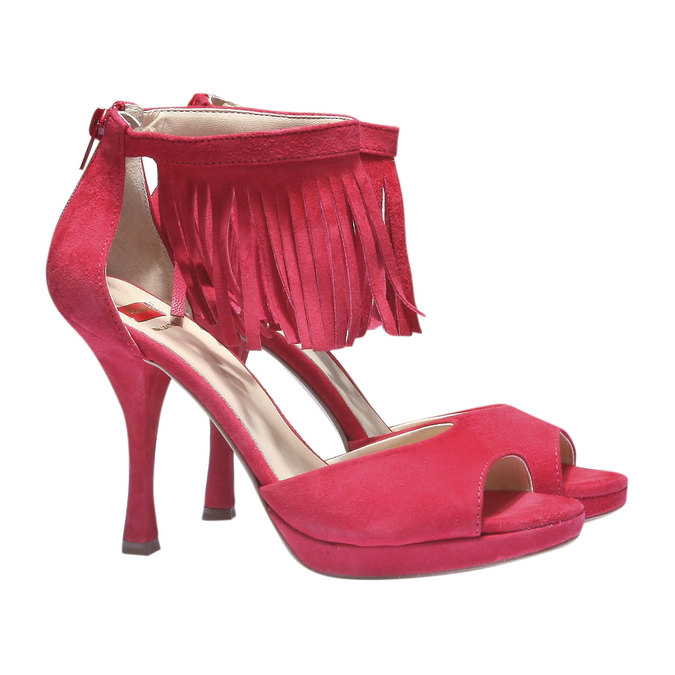 Sandale à franges en cuir bata, Rouge, 763-5153 - 26