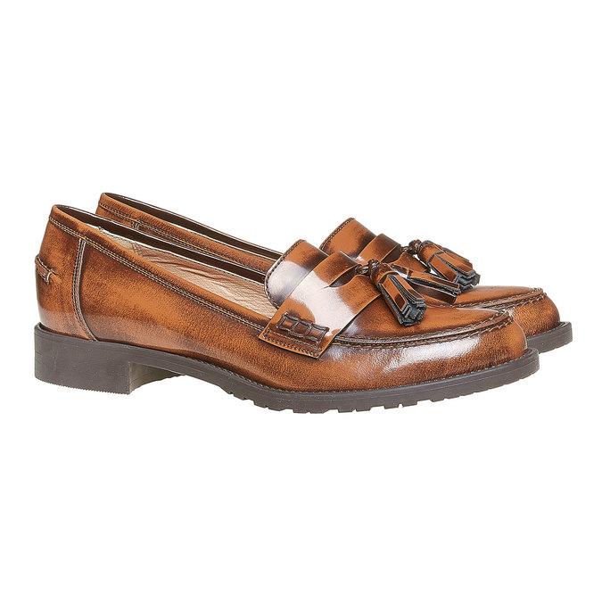 Loafers femme avec houppes bata, Brun, 514-3246 - 26
