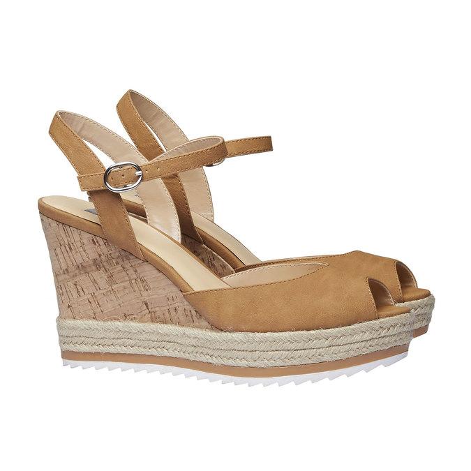 Chaussure à plateforme femme bata, Brun, 761-4520 - 26