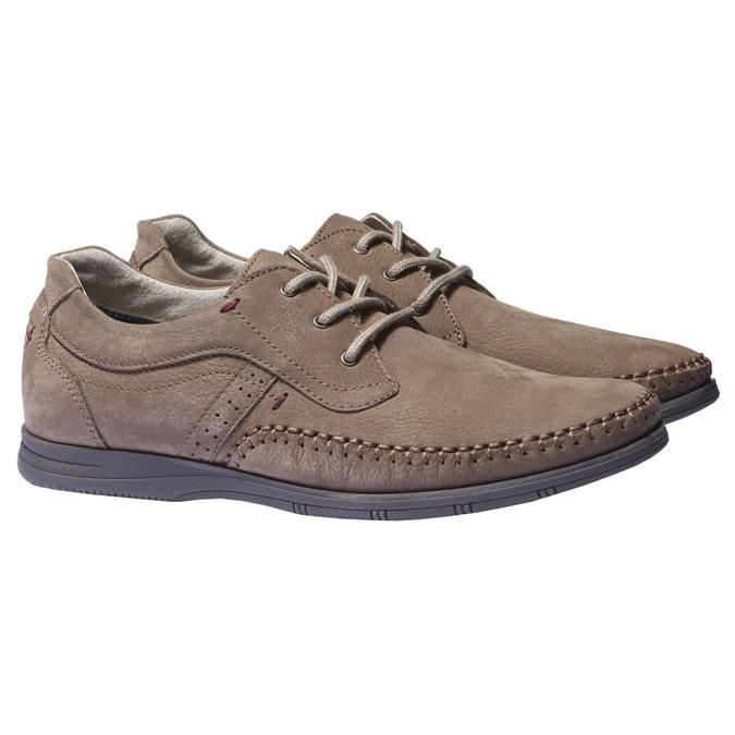 Chaussures de sport lacées en cuir bata, Brun, 856-4259 - 26