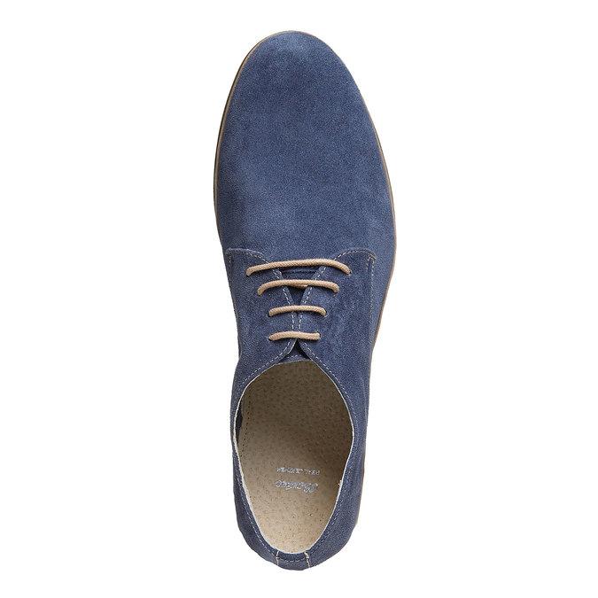 Chaussure lacée en cuir chamoisé bata, Bleu, 823-9752 - 19