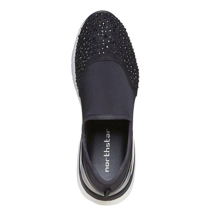 Slip-on femme avec petites pierres dans le style sportif north-star, Noir, 549-6258 - 19