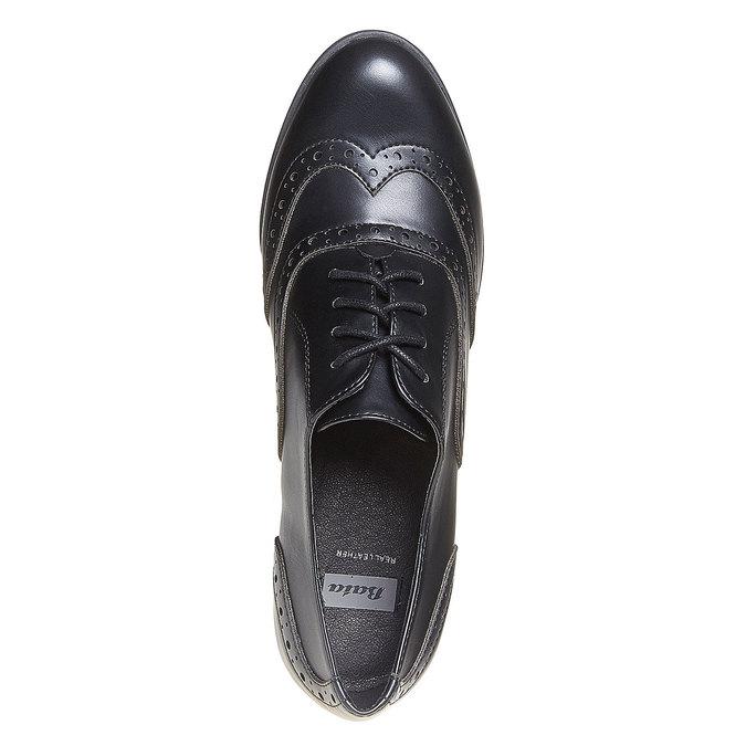 Chaussure Oxford femme à talon bata, Noir, 721-6225 - 19