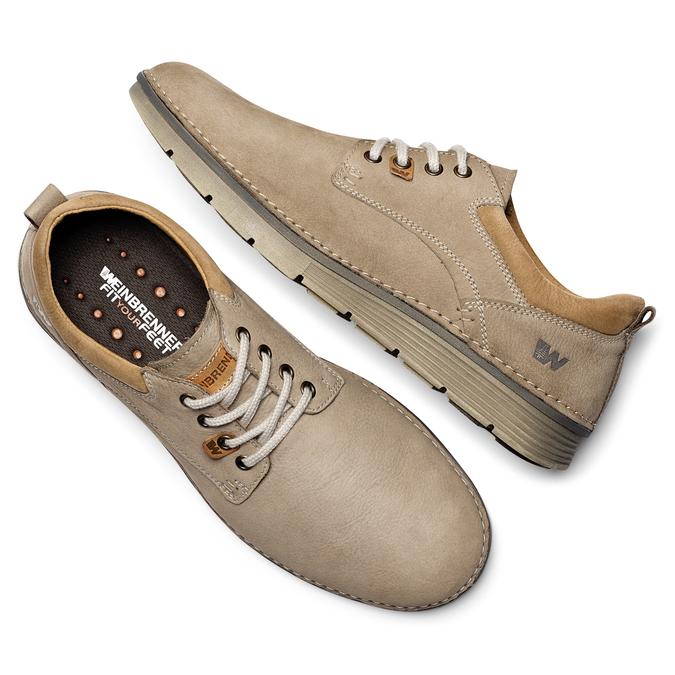 Chaussures lacées en cuir weinbrenner, Jaune, 846-8436 - 19