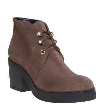 Chaussure à lacets en cuir pour femme bata, Gris, 693-2381 - 13