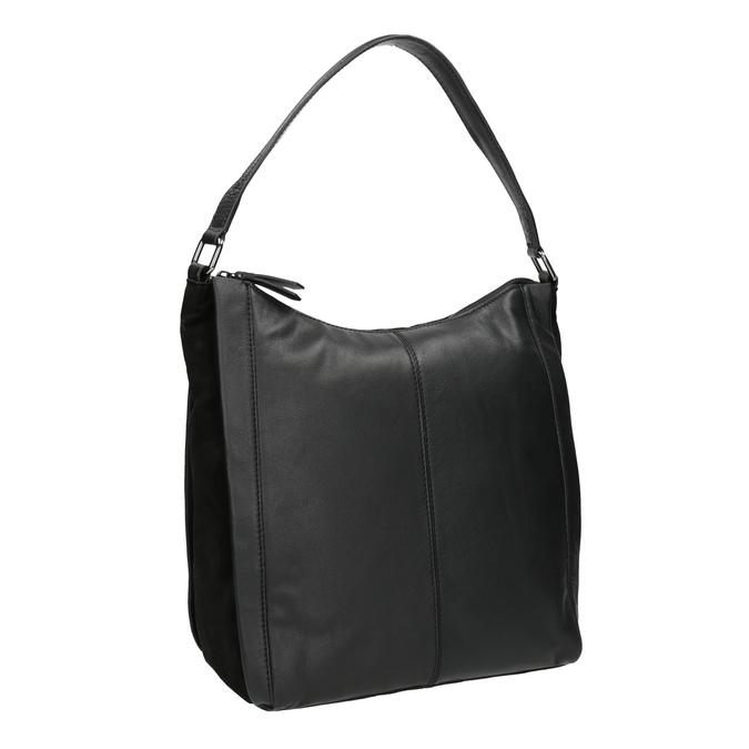 Sac Hobo en cuir noir bata, Noir, 964-6254 - 13