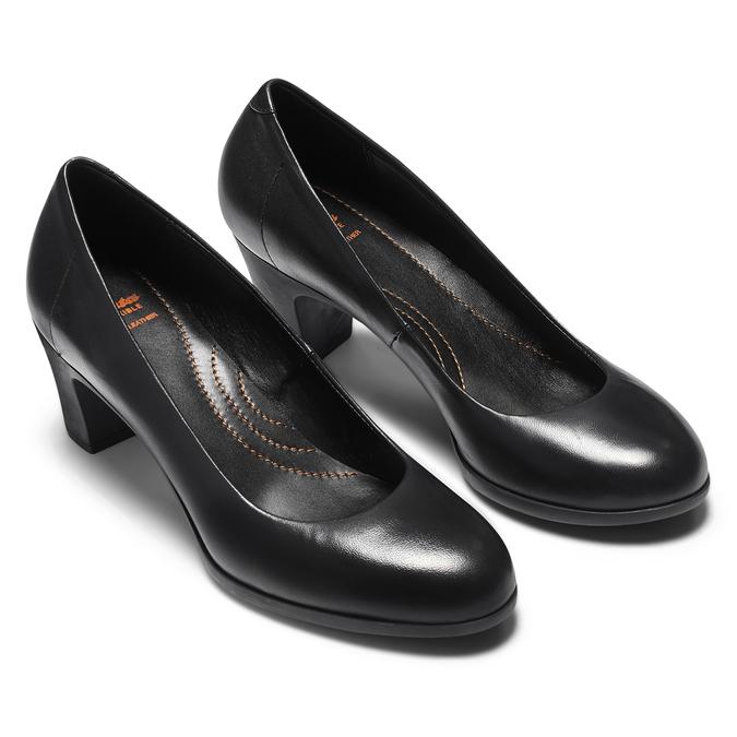 Escarpin en cuir noir flexible, Noir, 624-6393 - 19