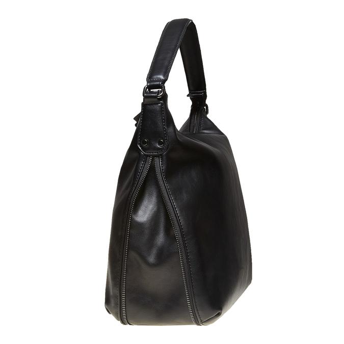 Sac Hobo avec zip décoratif bata, Noir, 961-6609 - 17