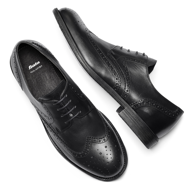 Chaussure Derby en cuir bata, Noir, 824-6429 - 19