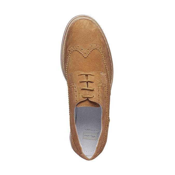 Chaussure de ville en cuir pour femme semelle épaisse bata, Brun, 523-3489 - 19