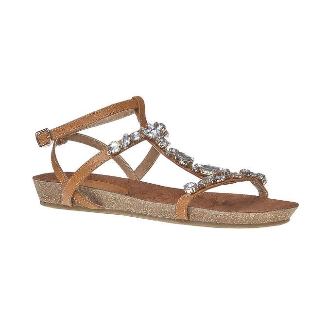 Sandale femme avec petites pierres bata, Brun, 561-3380 - 13