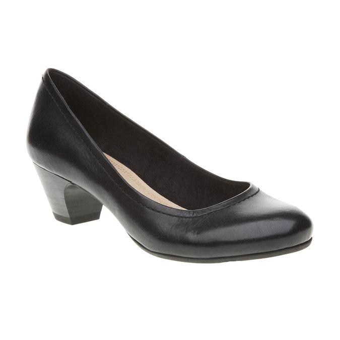Escarpin en cuir noir bata, Noir, 624-6390 - 13