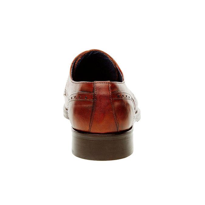 Chaussure lacée en cuir pour homme avec décoration bata, Brun, 824-4809 - 17