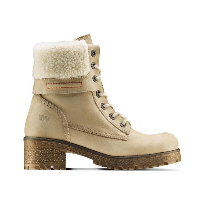 Chaussure d'hiver en cuir avec fausse fourrure weinbrenner, Jaune, 696-8168 - 26
