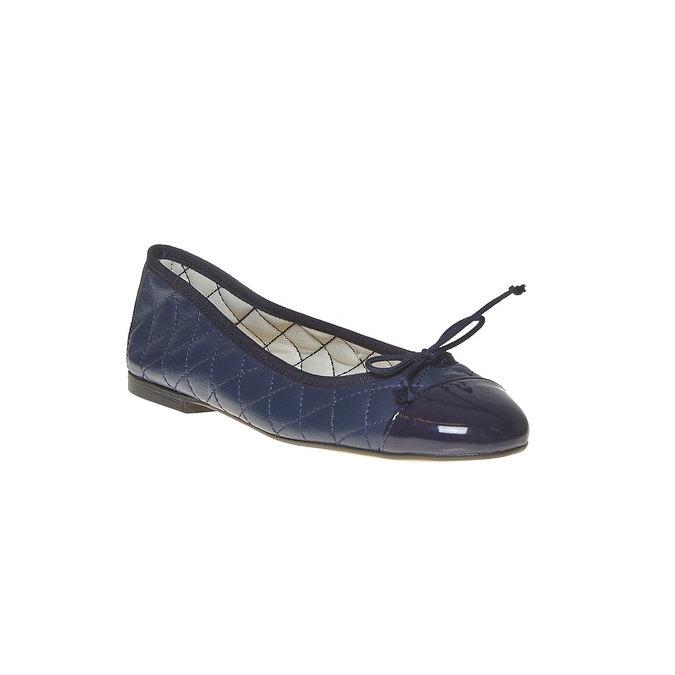 Ballerine en cuir avec surpiqûre bata, Bleu, 524-9431 - 13