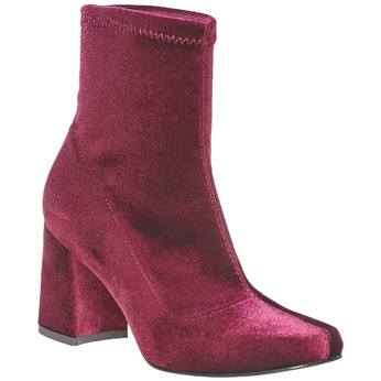 Bottine en velours bordeaux bata, Rouge, 799-5643 - 13