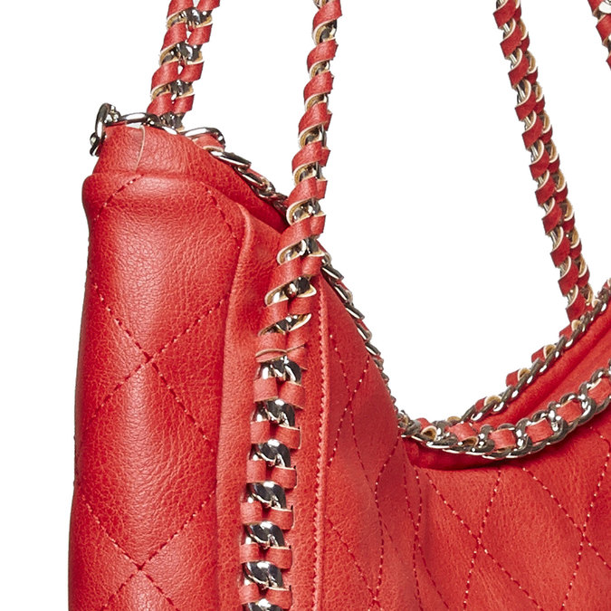 Sac à main femme rouge avec chaîne bata, Rouge, 961-5393 - 17