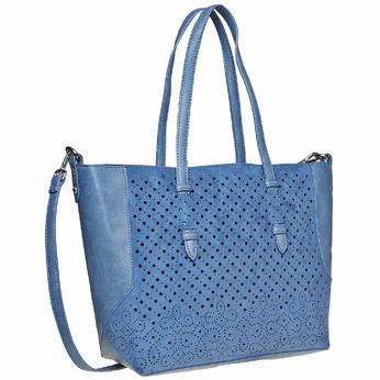 Sac à main bleu avec perforations bata, Violet, 961-9276 - 13
