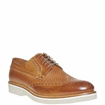 Chaussure lacée en cuir décoration Brogue bata-the-shoemaker, Brun, 824-3302 - 13