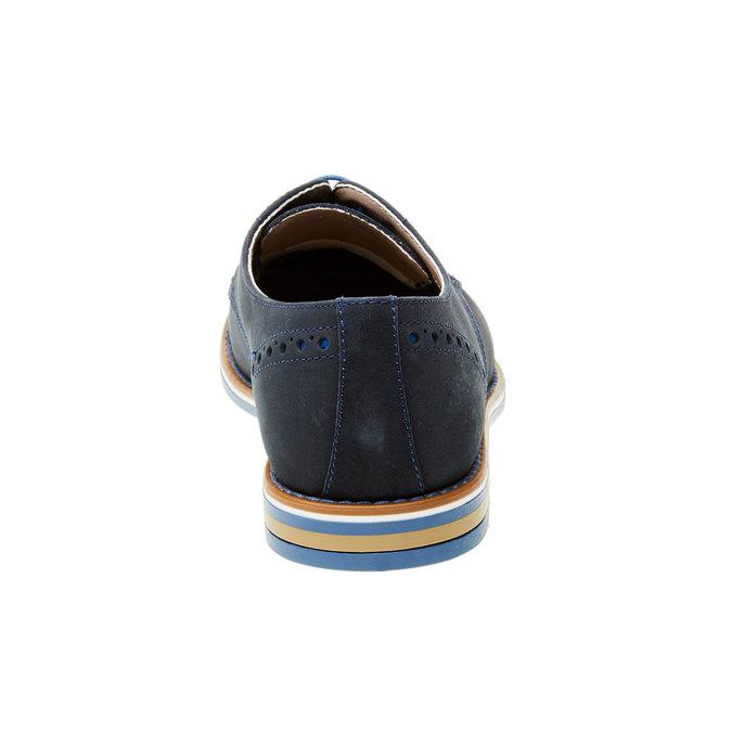 Chaussure lacée en cuir avec semelle colorée bata, Bleu, 826-9839 - 17