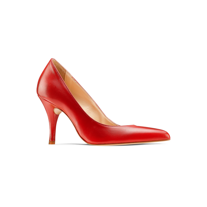 Escarpin rouge en cuir bata, Rouge, 724-5607 - 13