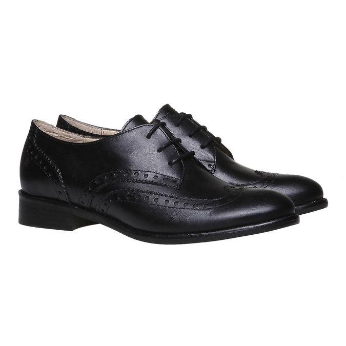 Chaussure lacée fantaisie en cuir pour femme bata, Noir, 524-6488 - 26