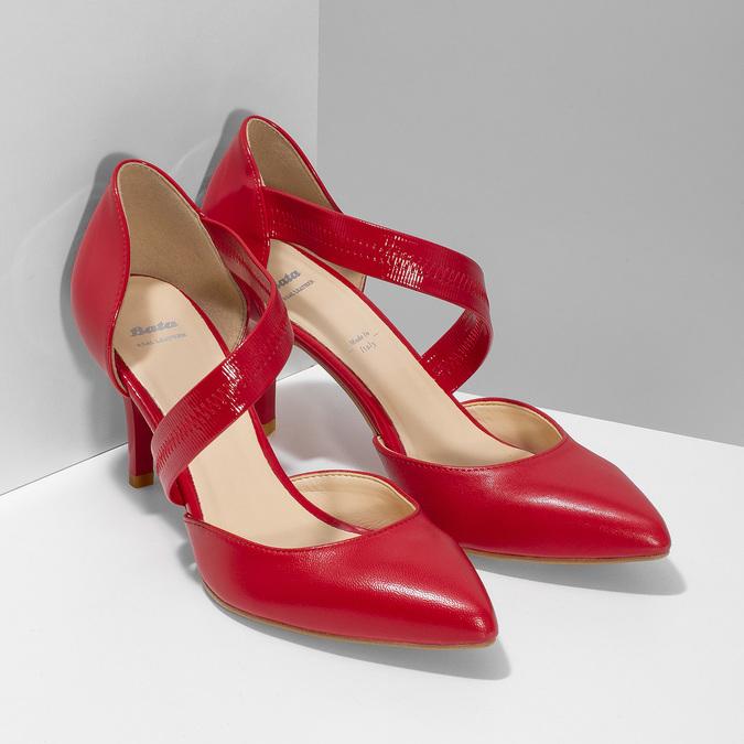 Escarpin en cuir avec bride bata, Rouge, 724-5904 - 26