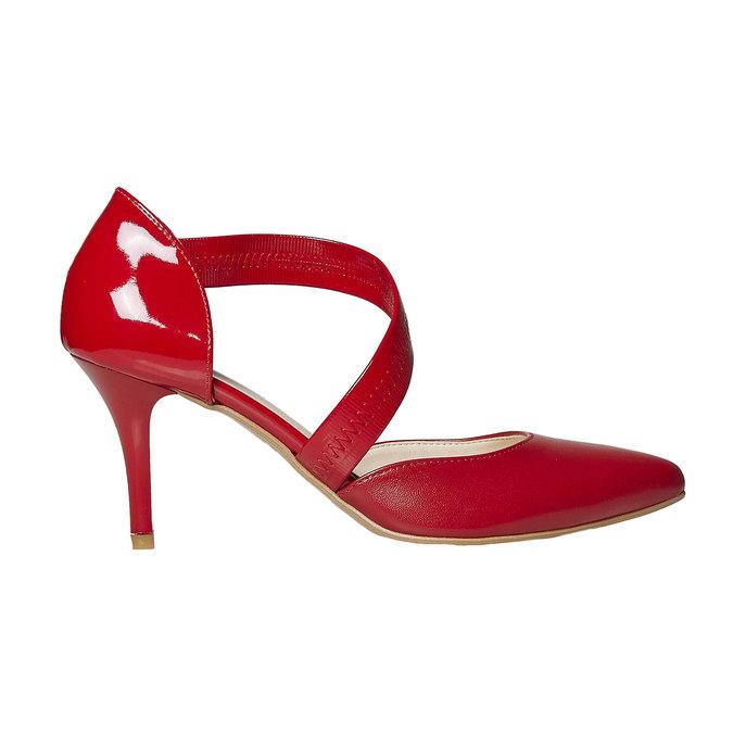 Escarpin en cuir avec bride bata, Rouge, 724-5904 - 15