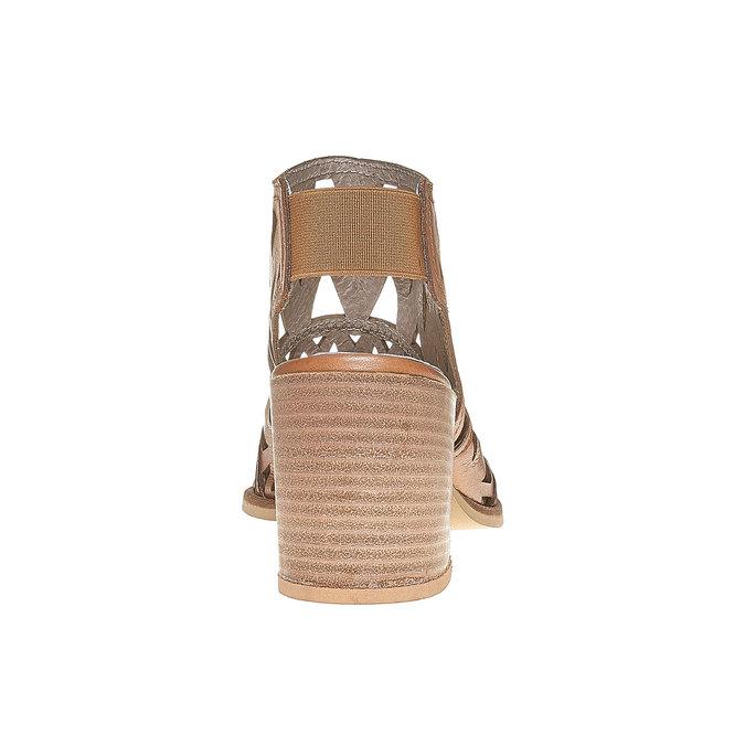 Sandale en cuir à talon large bata, Brun, 764-3532 - 17