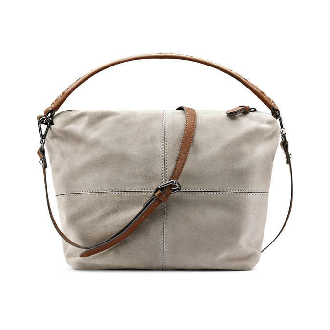 Sac à main en cuir dans le style Hobo bata, Gris, 963-2130 - 26