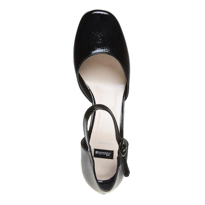 Sandale vernie en cuir à bout fermé bata, Noir, 728-6372 - 19