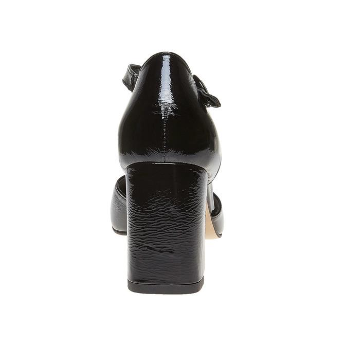Sandale vernie en cuir à bout fermé bata, Noir, 728-6372 - 17