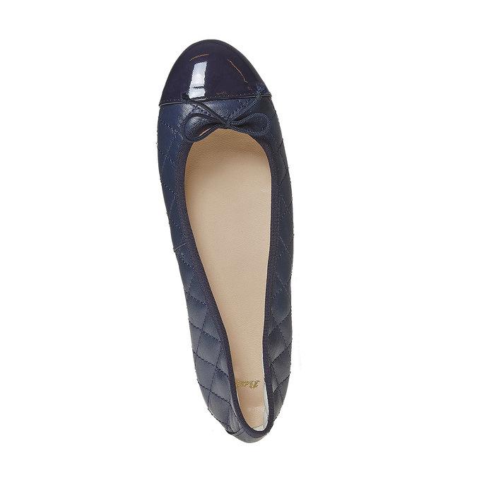 Ballerine en cuir avec surpiqûre bata, Bleu, 524-9431 - 19
