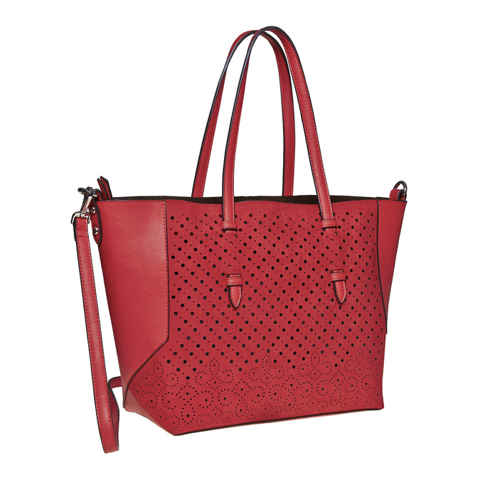 Sac à main avec perforations bata, Rouge, 961-5276 - 13